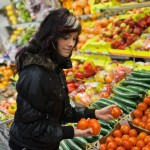 woman buying fruits and vegetables